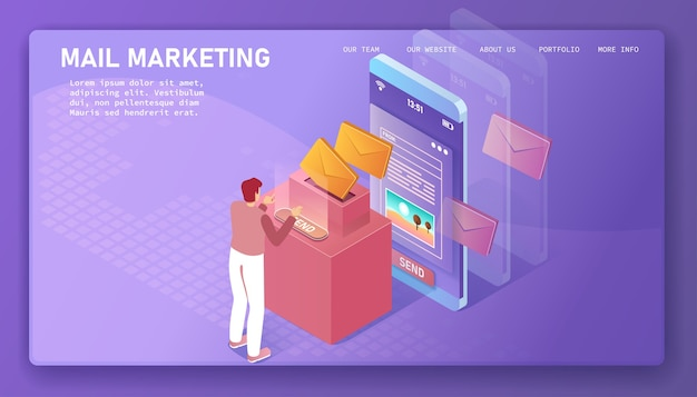 Man sends and receives letters. mail marketing isometric illustration.