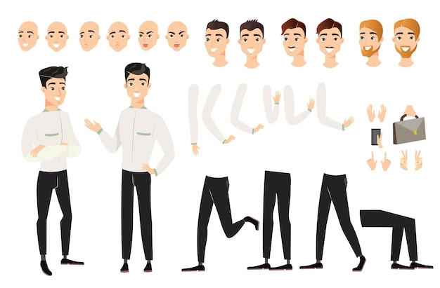 Man set with various positions of body parts. cartoon male character in various views, poses,
