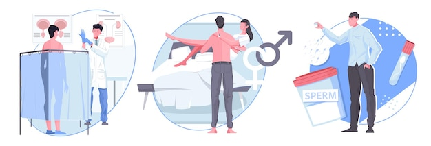 Мужские плоские композиции сексуального здоровья с мужскими персонажами на приеме к врачу счастливая супружеская пара и гендерные иконки