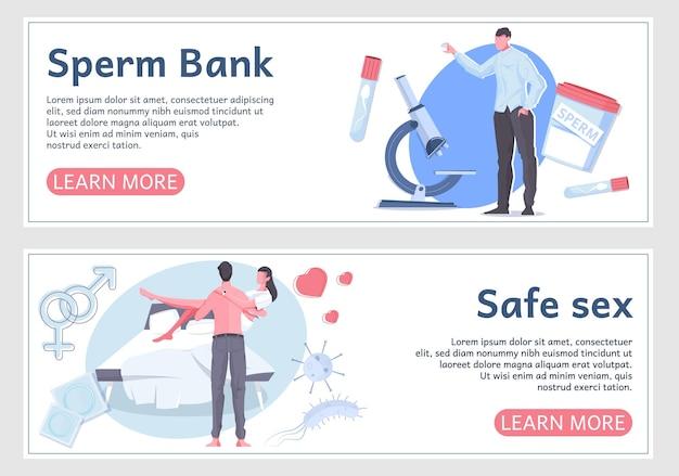 Сексуальное здоровье мужчины два плоских баннера с информацией о банке спермы и безопасном сексе