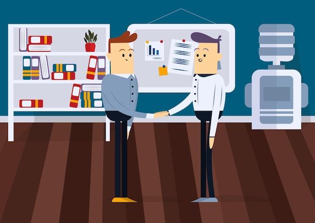 握手する男。彼らはオフィスのボードの前に立っています。カラー漫画のベクトル図