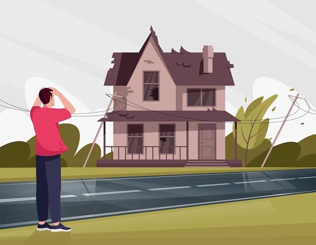 깨진 창문 반 평면 일러스트와 함께 초라한 집에 충격을받은 남자