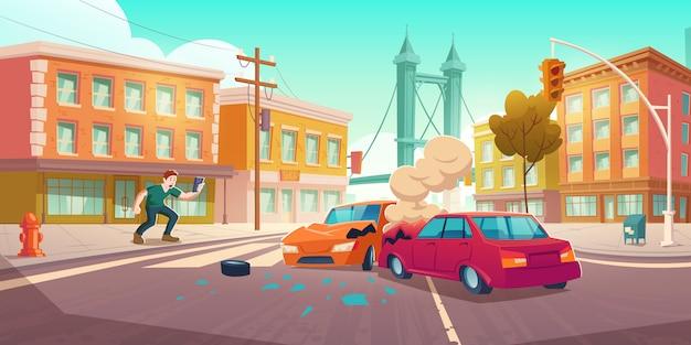男がスマートフォンで自動車事故を撃つ
