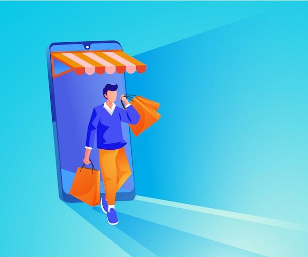 Человек делает покупки в интернете на веб-сайте или в мобильном приложении