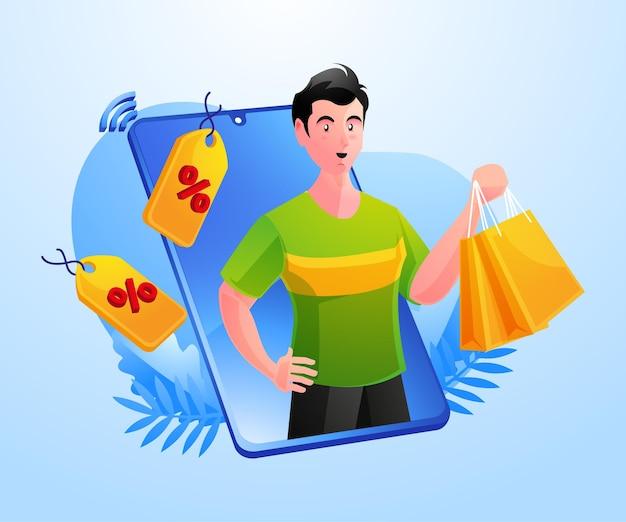 携帯スマートフォンでオンラインショッピングの男