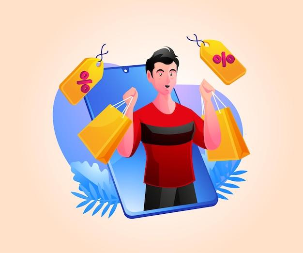 モバイルスマートフォンでオンラインショッピングをする男性