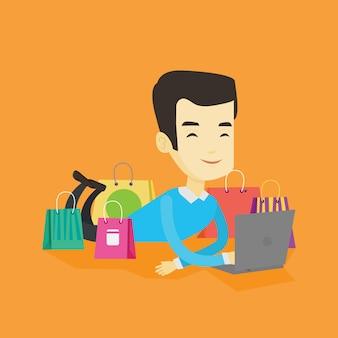 Man shopping online .