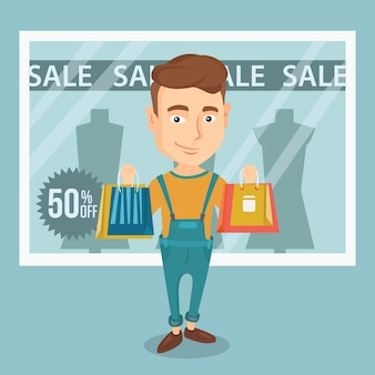 Man shopping on sale vector illustration.