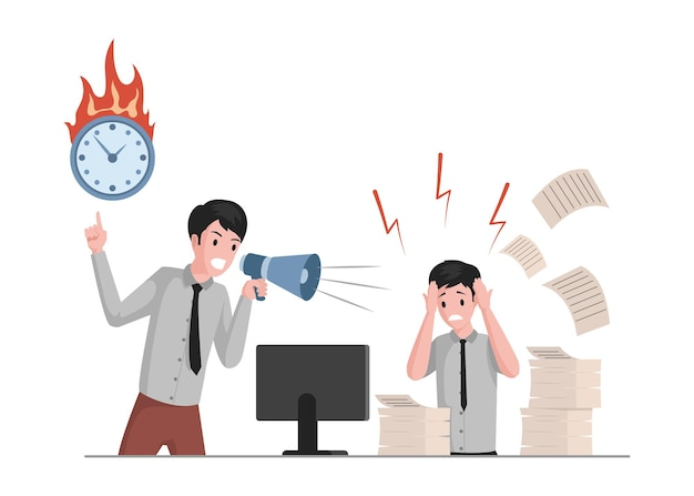 Человек кричит в мегафон на иллюстрации офисного работника