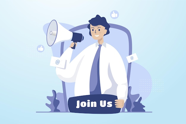 A man shouts with loudspeaker for recruitment illustration concept