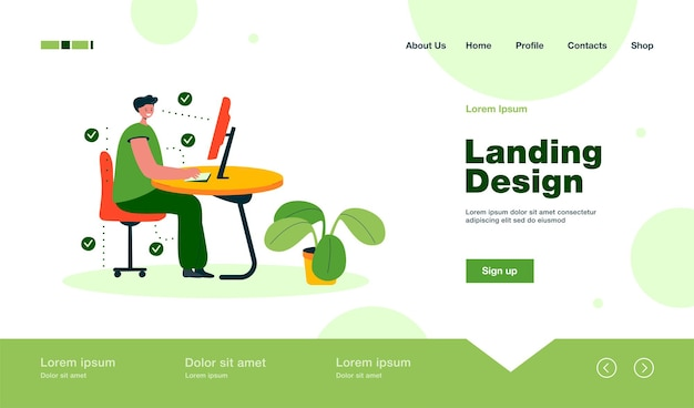 Man showing correct position for sitting at desk landing page in flat style