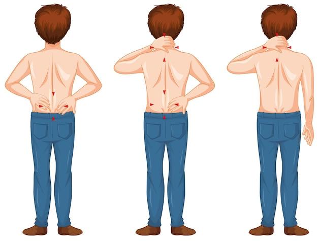 Человек, показывающий различные точки боли