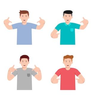 Человек показывает позу продукта с набором символов различных жестов руки.
