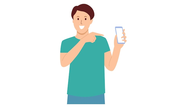 Man showing smartphone and pointing towards that