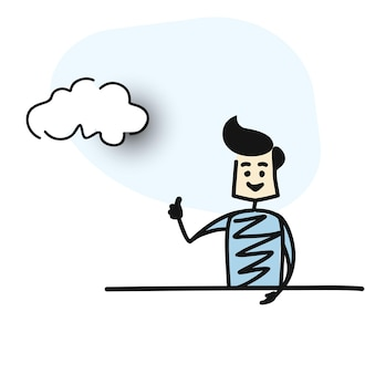 Man shows hands thumbs up with chat bubble, cartoon hand drawn sketch vector illustration.