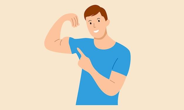 Мужчина показывает свои мускулы