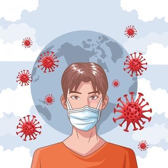 Man sick in coronavirus scene
