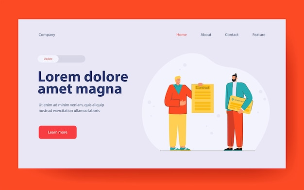 Man signing contract for credit card. male character receiving credit card landing page in flat style