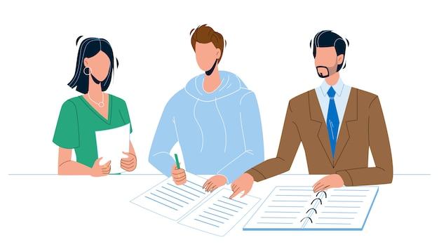 서명으로 공증인 문서에 서명하는 사람