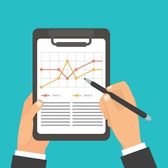 Человек подписания бумажного документа, подпись, график, список предметов.