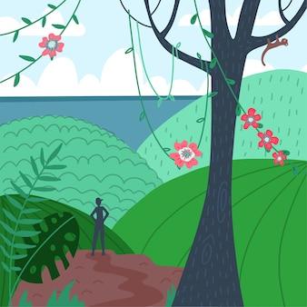 男のシルエット、熱帯の山の視点の背面図。ハイカー、エクスプローラー。山の頂上の美しい景色、海辺の景色。自然風景の背景。