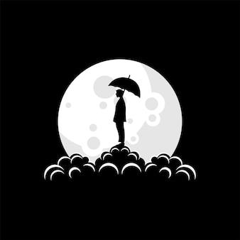 Man silhouette logo on the moon vector