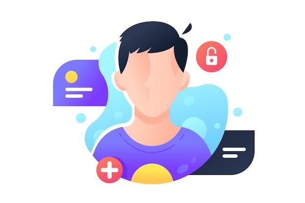 웹 사용자 계정에 대한 얼굴이없는 남자 실루엣. 온라인 확인 및 프리젠 테이션에 사용하는 남성 캐릭터 그림의 고립 된 아이콘 개념.