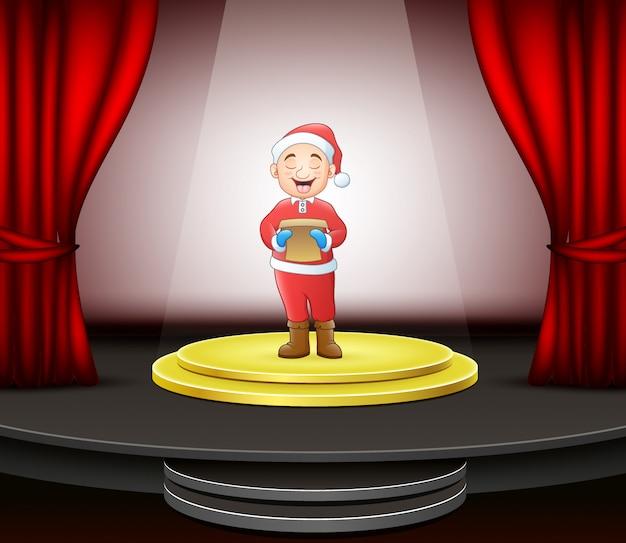 Man singing christmas carols standing on circle modern stage