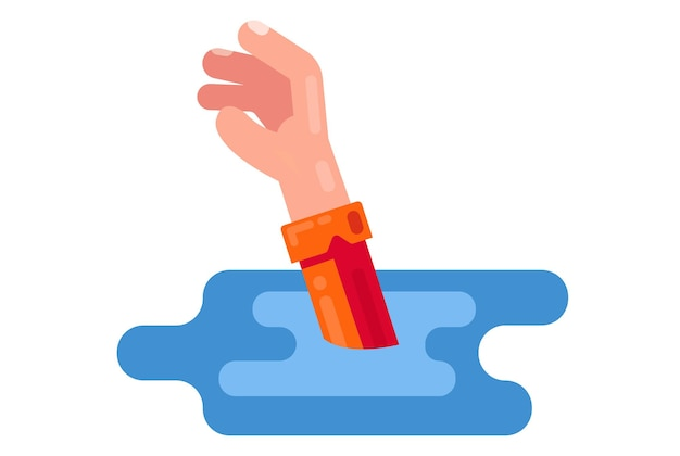 Man sinks in water. outstretched hand request for help. vector illustration on white background