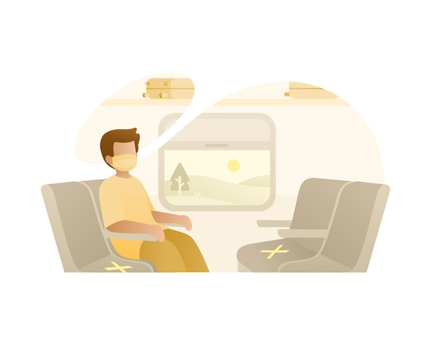 A man sit alone in train wearing face mask illustration