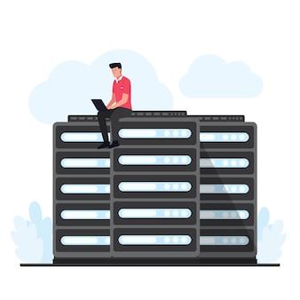 Человек сидит и обновляет облачный хостинг на сервере. плоский облачный хостинг иллюстрации.