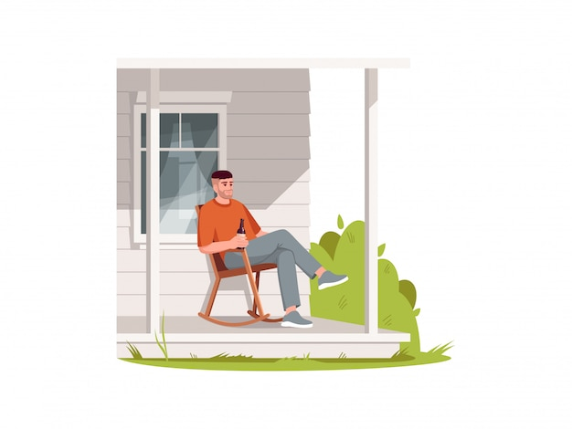Man sit in armchair on patio semi  rgb color  illustration