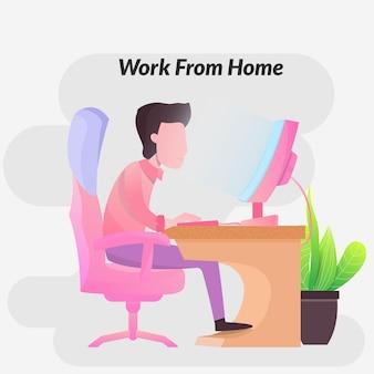 Человек сидит на игровом стуле, работая дома или работая дома, используя портативный компьютер