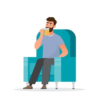 남자는 소파에 앉아 맥주를 마신다. 건강 개념, llustration 만화 캐릭터