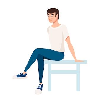 Человек сидит на белом стуле иллюстрации