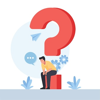 Man sit on the question mark metaphor of think