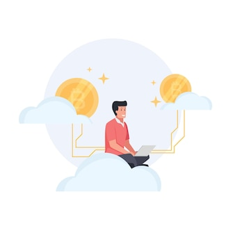 남자는 주변의 구름 뒤에 비트코인이 있는 동안 노트북과 함께 앉아 있다
