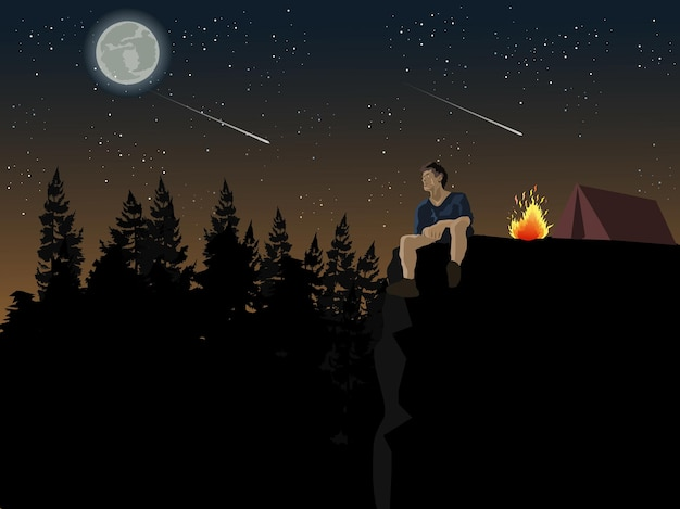 A man sits on a cliff looking at the moon. he camps in a pine forest with a blue sky and stars in the background.