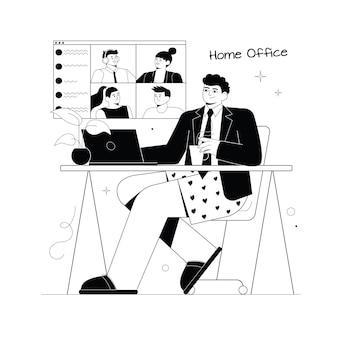 Мужчина сидит в куртке и трусах. парень удаленно работает в нижнем белье. домашний офис. работа из дома.