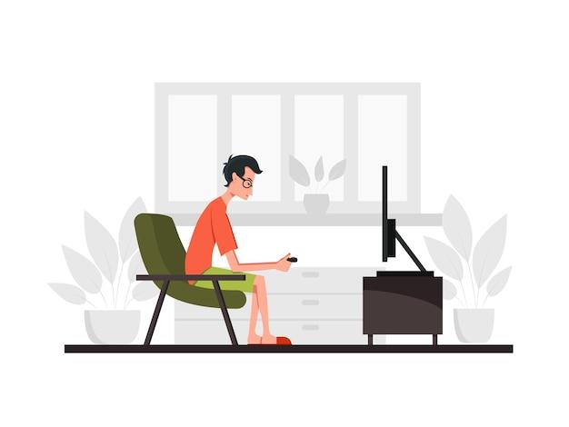 男はソファに座ってテレビでゲーム機をします。側面図。色ベクトル漫画フラットイラスト。コロナウイルスの流行検疫の概念。家にいる。