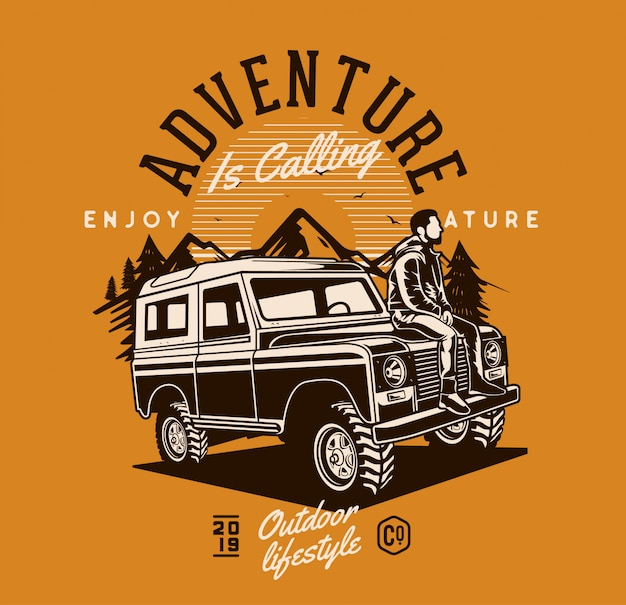 Man sitting on adventure jeep