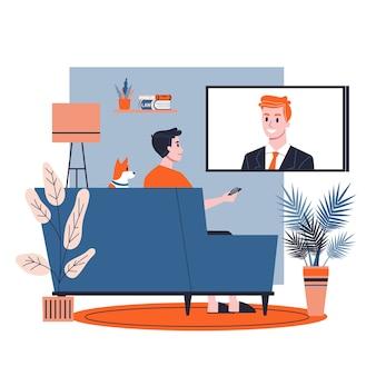 Человек сидит один дома на диване. парень отдыхает в помещении и смотрит теленовости. иллюстрация в мультяшном стиле