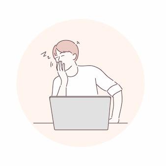 Человек сидит и спит или зевает перед ноутбуком. скучно, устал, много работать концепция.