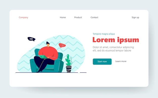 Man sitting in armchair and chatting via laptop isolated flat vector illustration. cartoon character working online from home. business achievement and freelance concept