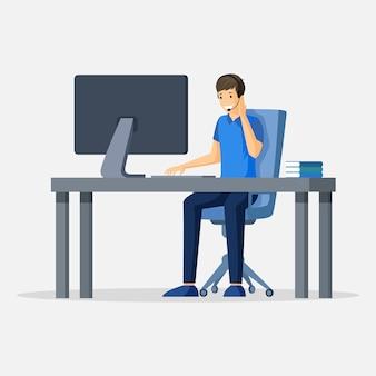 コンピューターに座っている男。サポート、フリーランス、仮想オフィスまたはアウトソーシングキャラクター。