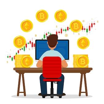 Человек сидит за столом с графической диаграммой и криптовалютными монетами