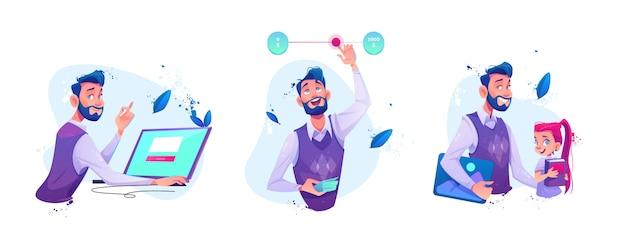 Человек, сидящий за ноутбуком, делает онлайн-заказ, бизнесмен движется ползунковый переключатель для регулируемой цены или бюджетные лимиты, учитель и школьница мультфильм векторные иллюстрации