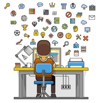 Человек сидит за рабочим столом и работает на компьютере. векторная иллюстрация