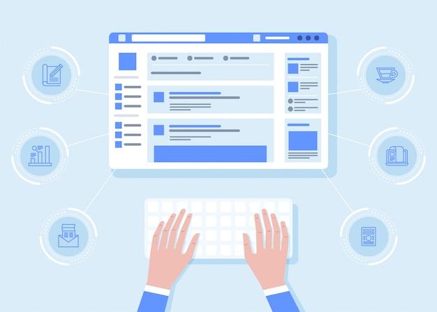 Человек сидит за столом и работает с ноутбуком в социальных сетях