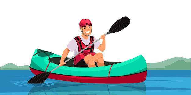 Man sitting in canoe and holding paddle, cheerful guy paddling kayak through river or lake